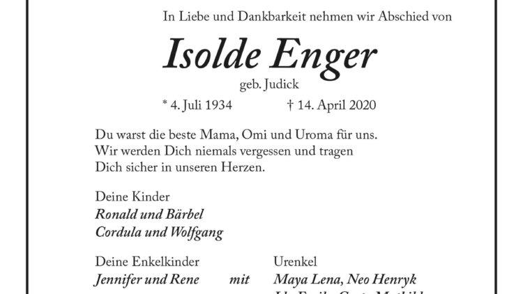 Isolde Enger † 14. April 2020