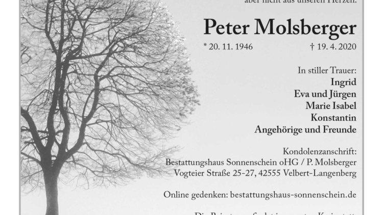 Peter Molsberger † 19. April 2020