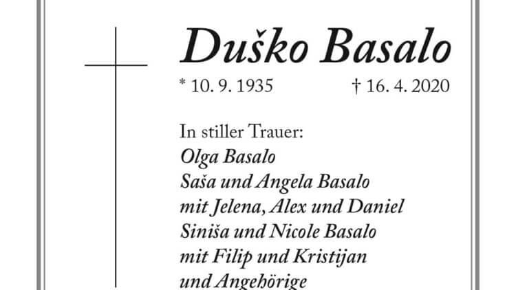 Dusko Basalo † 16. 4. 2020