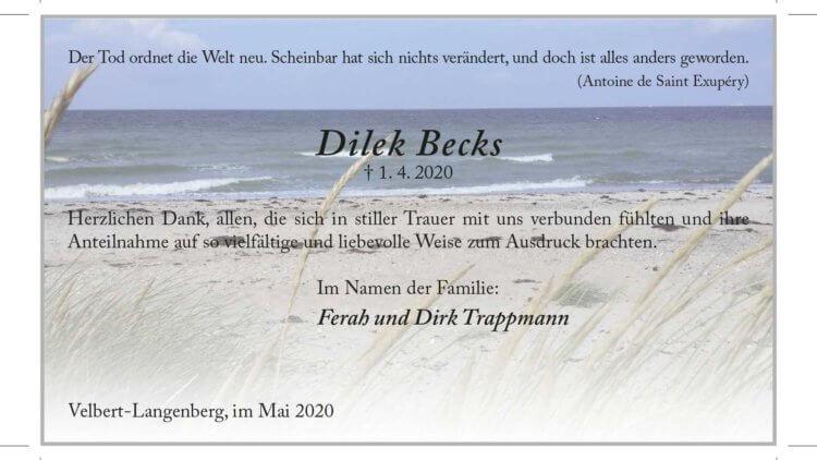 Dilek Becks -Danksagung-