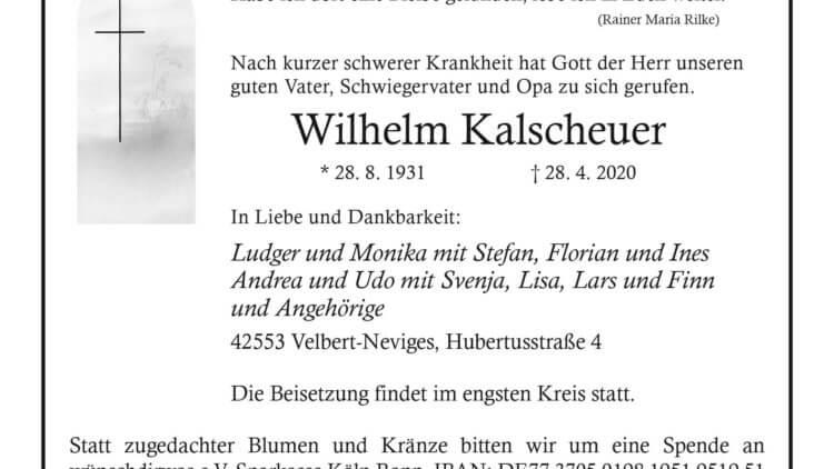 Wilhelm Kalscheuer † 28. 4. 2020