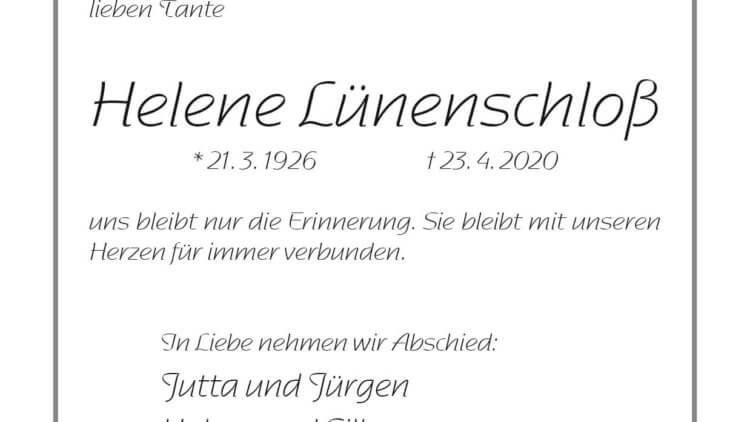 Helene Lünenschloß † 23. 4. 2020