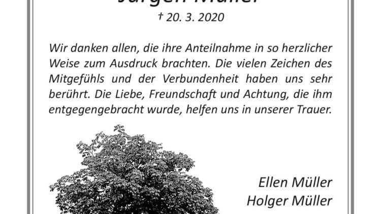 Jürgen Müller -Danksagung-