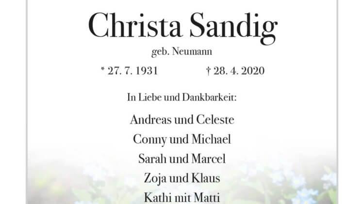 Christa Sandig † 28. 4. 2020