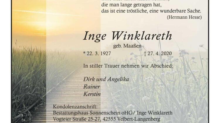 Inge Winklareth † 27. 4. 2020