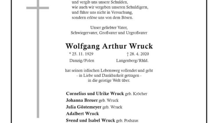 Wolfgang Arthur Wruck † 28. 4. 2020