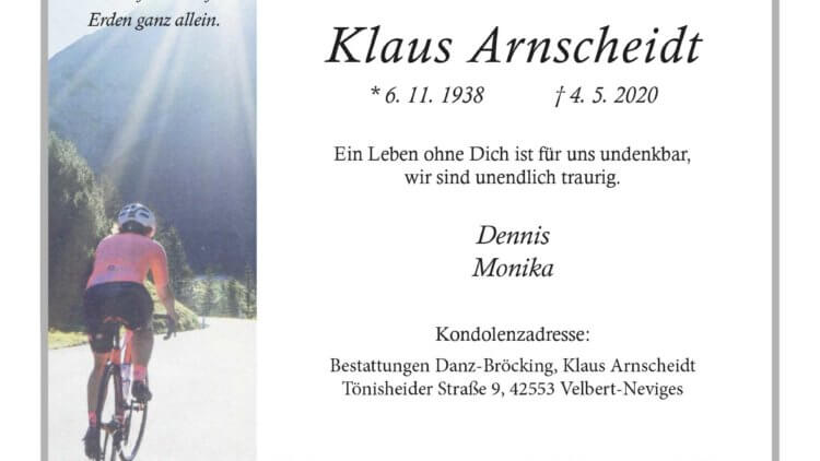 Klaus Anscheint † 4. 5. 2020