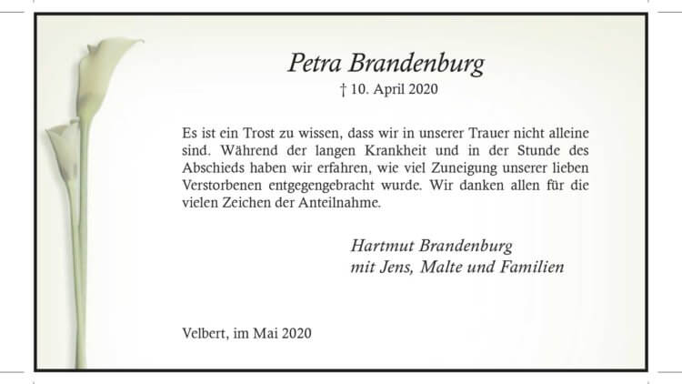 Petra Brandenburg -Danksagung-