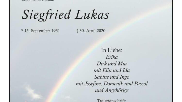 Siegfried Lukas † 30. 4. 2020