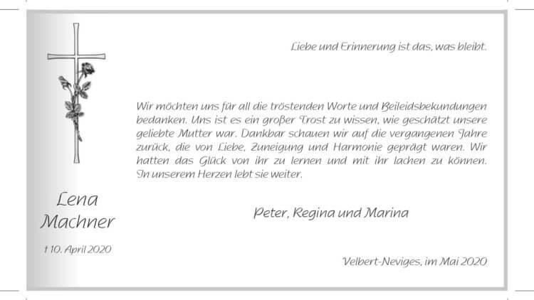 Lena Machner -Danksagung-