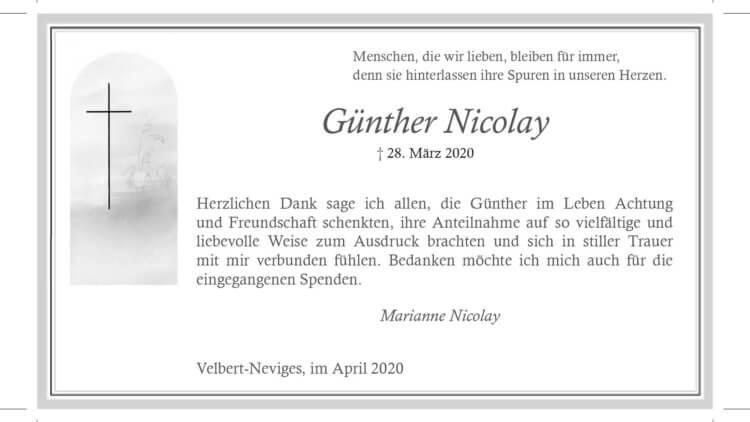 Günther Nicolai -Danksagung-