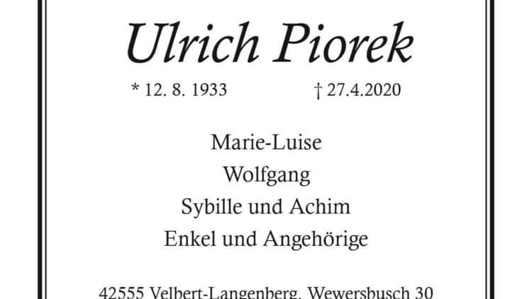 Ulrich Piorek † 27. 4. 2020