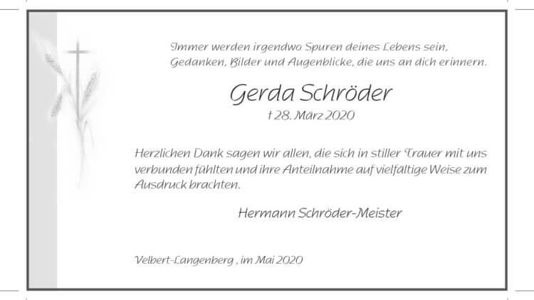 Gerda Schröder -Danksagung-