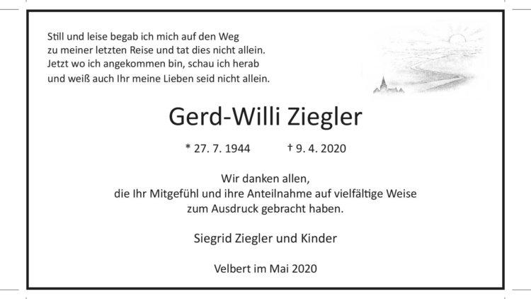 Gerd-Willi Ziegler -Danksagung-