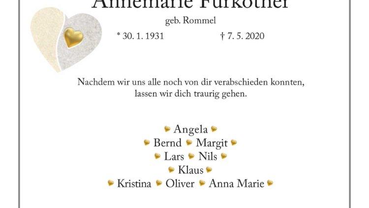 Annemarie Fürköther † 7. 5. 2020