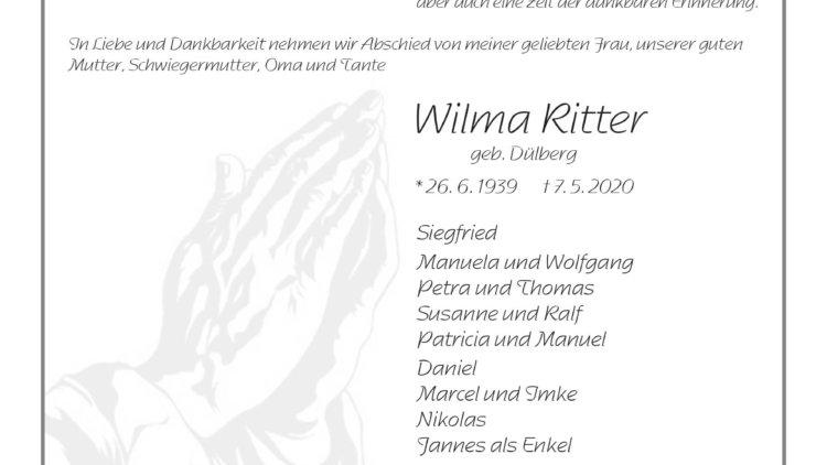 Wilma Ritter † 7. 5. 2020