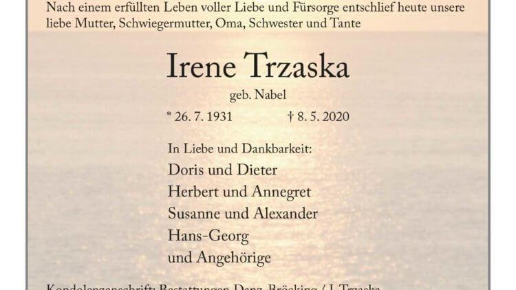 Irene Trzaska † 8. 5. 2020