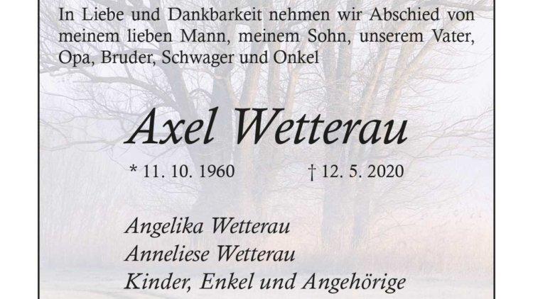 Axel Wetterau † 12. 5. 2020
