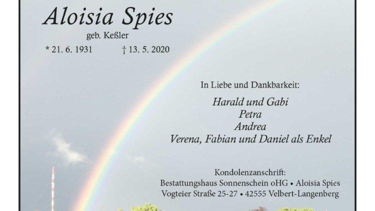 Aloisia Spies † 13. 5. 2020