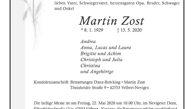 Martin Zost † 13. 5. 2020
