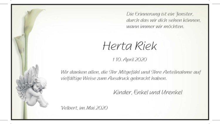 Herta Riek -Danksagung-