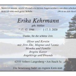 Erika Kehrmann † 17. 5. 2020