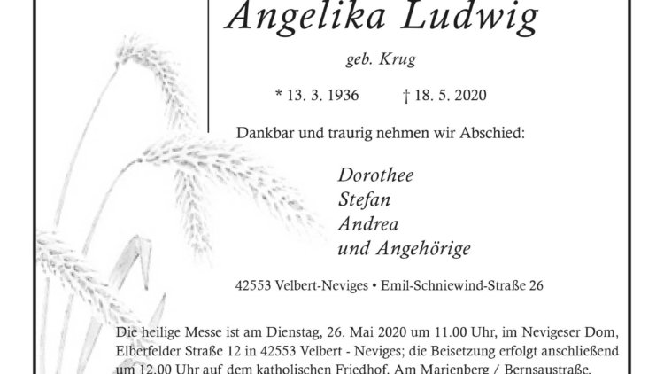 Angelika Ludwig † 18. 5. 2020