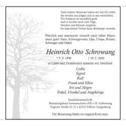 Heinrich Otto Schrowang † 10. 5. 2020