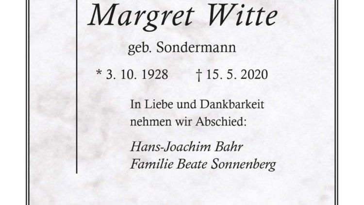 Margret Witte † 15. 5. 2020