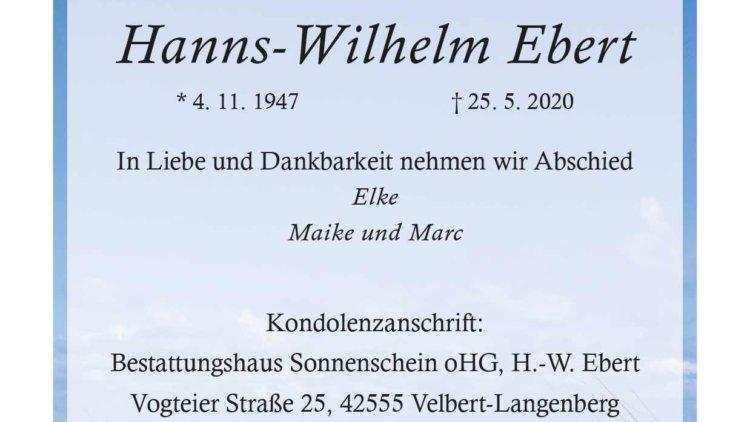 Hanns-Wilhelm Ebert † 25. 5. 2020