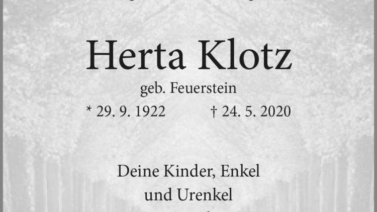 Herta Klotz † 24. 5. 2020
