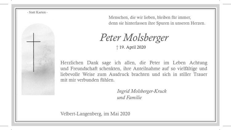 Peter Molsberger -Danksagung-