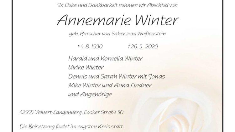 Annemarie Winter † 26. 5. 2020