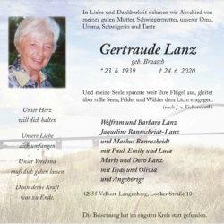 Gertraude Lanz † 24. 6. 2020
