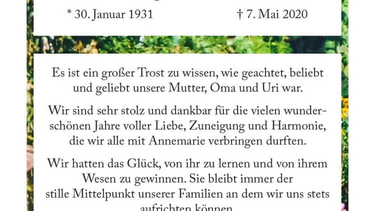 Annemarie Fürköther †7. 5. 2020