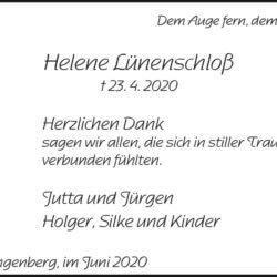 Helene Lünenschloß -Danksagung-