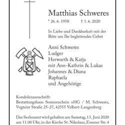 Matthias Schweres † 1. 6. 2020