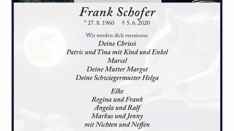Frank Schofer † 5. 6. 2020