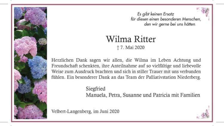 Wilma Ritter -Danksagung-