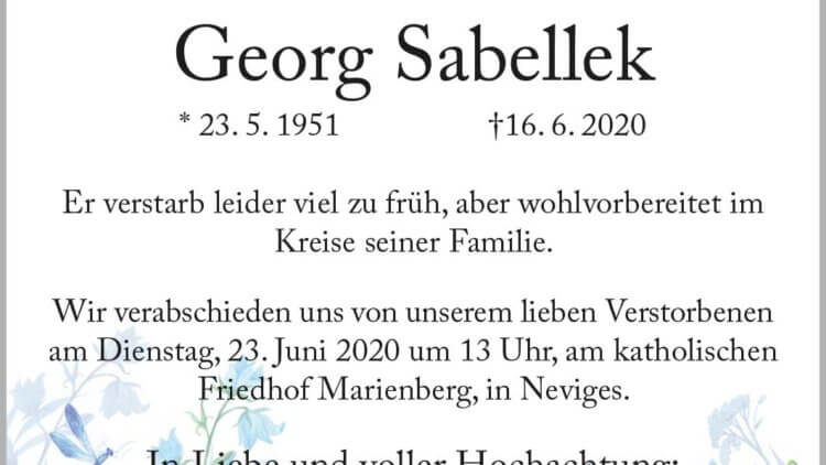 Georg Sabellek † 16. 6. 2020