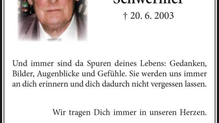 Walter Schwermer -Jahresgedächtnis-
