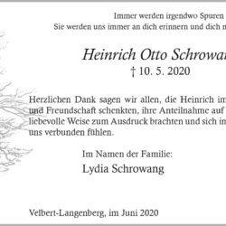 Heinrich Otto Schrowang -Danksagung-