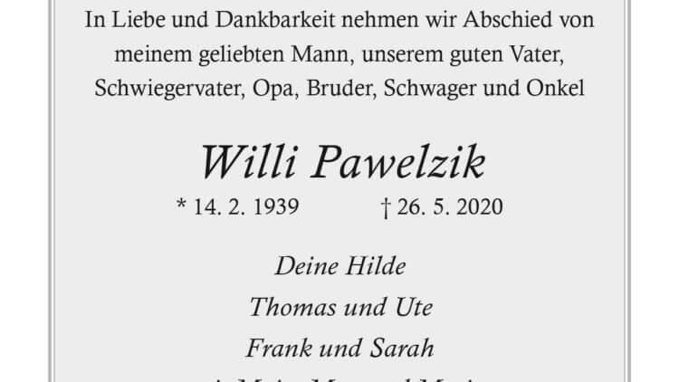 Willi Pawelzik † 26. 5. 2020