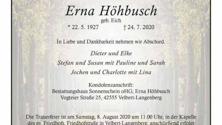 Erna Höhbusch † 24. 7. 2020