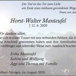 Horst-Walter Manteufel -Danksagung-
