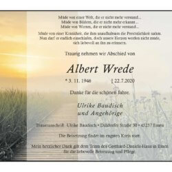 Albert Wrede † 22. 7. 2020