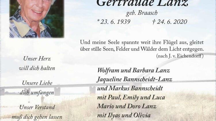 Gertraude Lanz †24. 6. 2020
