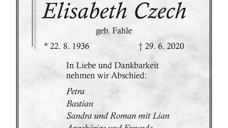 Elisabeth Czech † 29. 6. 2020