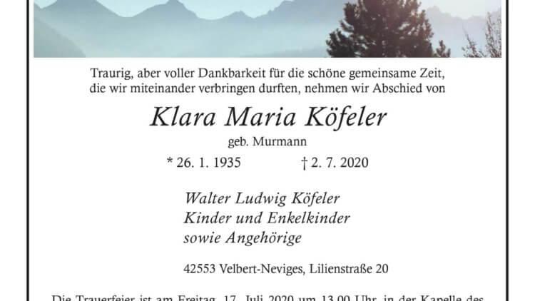 Klara Maria Köfeler † 2. 7. 2020