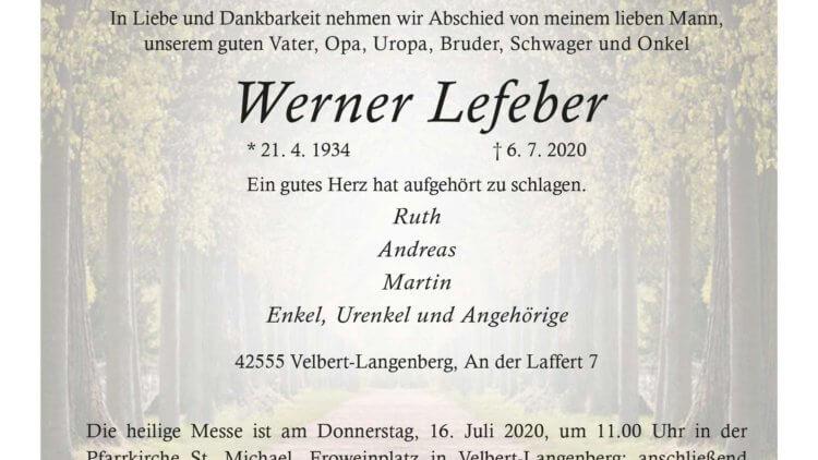 Werner Lefeber † 6. 7. 2020